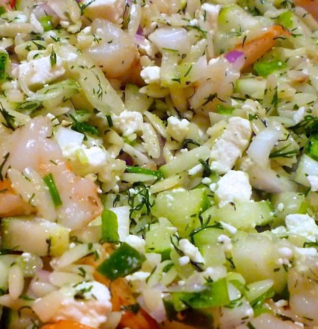 Shrimp and Feta Orzo with Dill