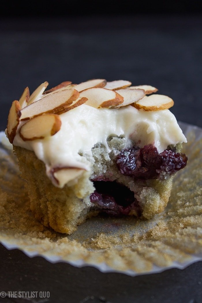 One of my most popular recipes, so moist and elegant! The cherry works perfectly with the almond, the tang of the cream cheese frosting, and the whimsical, crunchy slivered almonds.