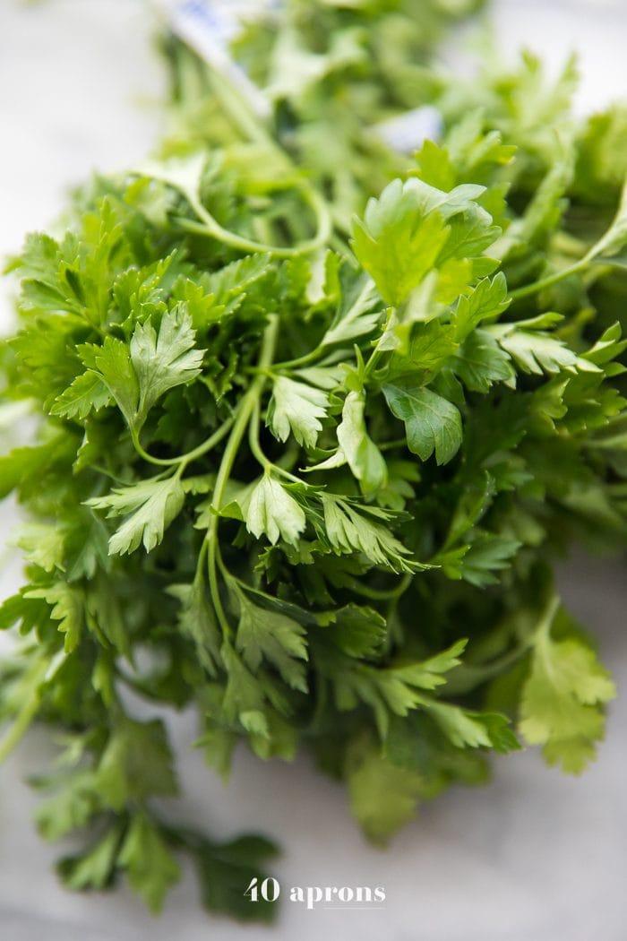 Fresh parsley for the best chimichurri recipe (Texas de Brazil chimichurri recipe)
