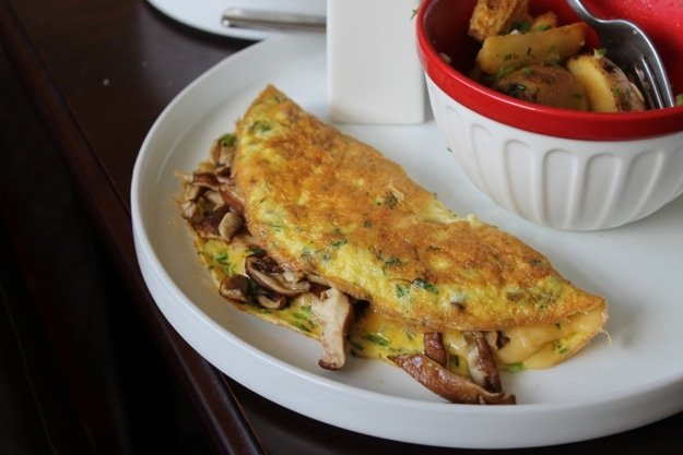 French Omelet with Smoked Gouda and Shiitakes