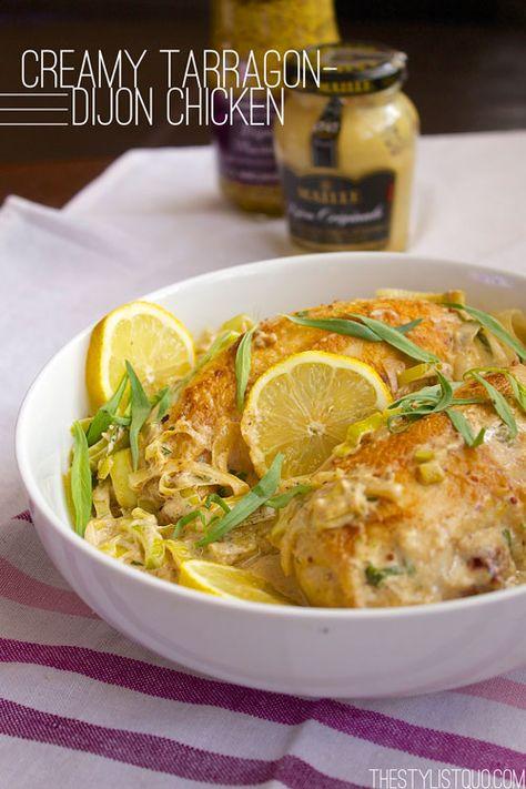 Creamy Tarragon-Dijon Chicken with Leeks - incredibly good