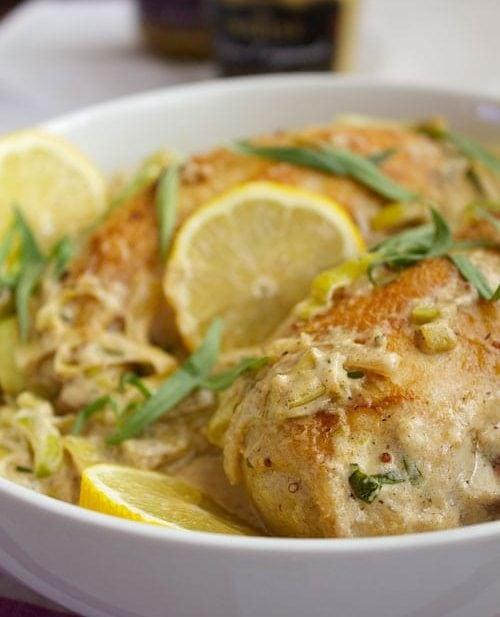 Creamy Tarragon-Dijon Chicken with Leeks