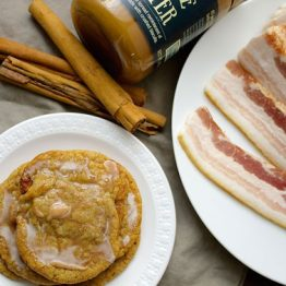 Bacon Cookie Butter Cookies with Cinnamon Glaze