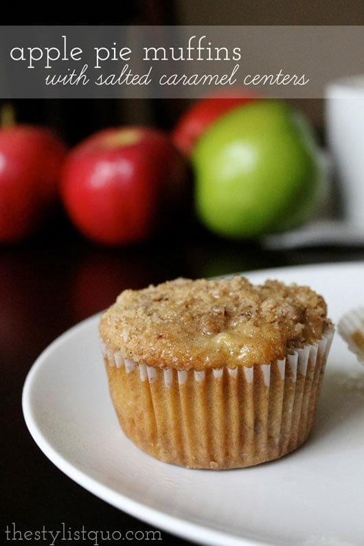 Apple Pie Muffins with Salted Caramel Centers