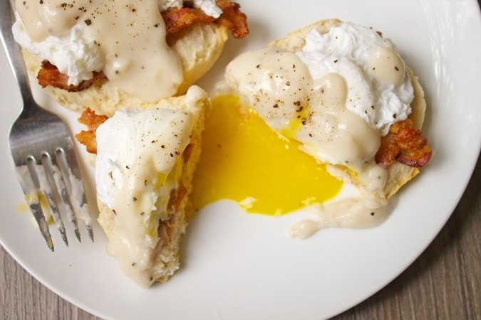 Southern Eggs Benedict with Biscuits, Bacon, and Gravy