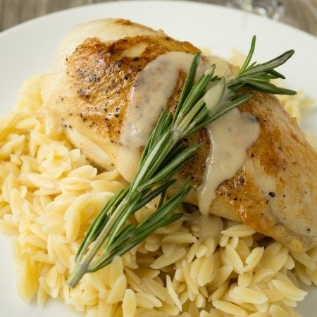 pan seared chicken with rosemary vin blanc au beurre white wine with butter sauce - Bur Blanc Recipe