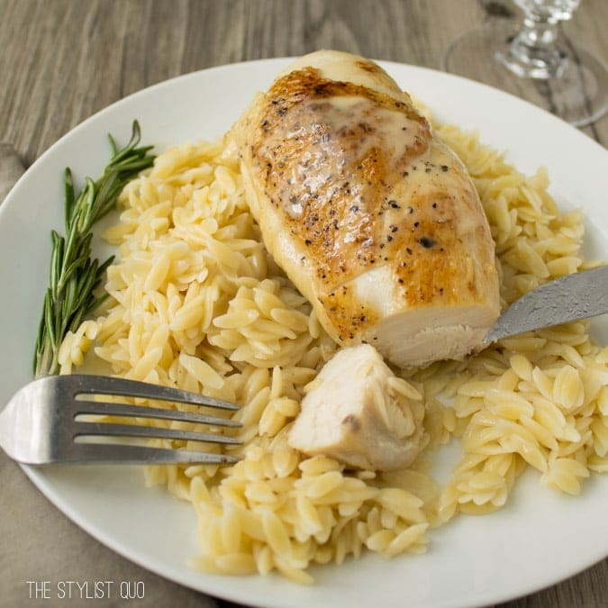 Pan-Seared Chicken With Rosemary Vin Blanc Au Beurre