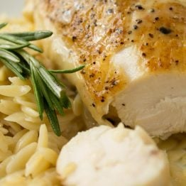 Pan-Seared Chicken with Rosemary Vin Blanc au Beurre (White Wine with Butter Sauce)
