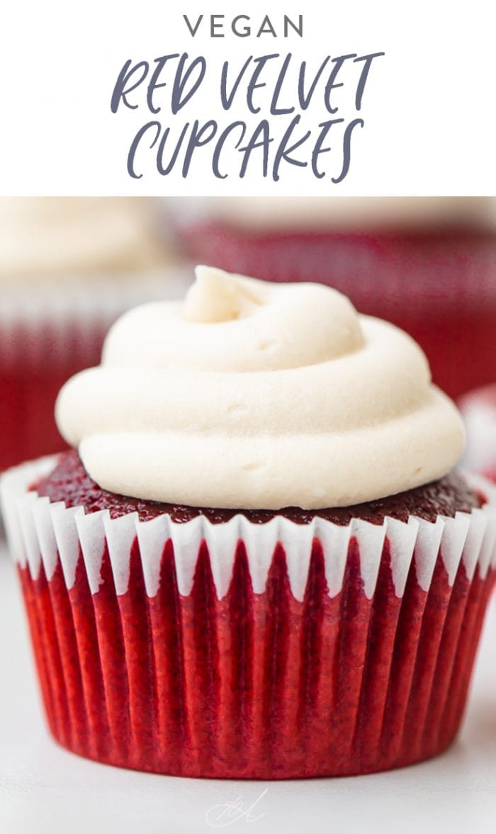 Vegan Red Velvet Cupcakes Pinterest graphic