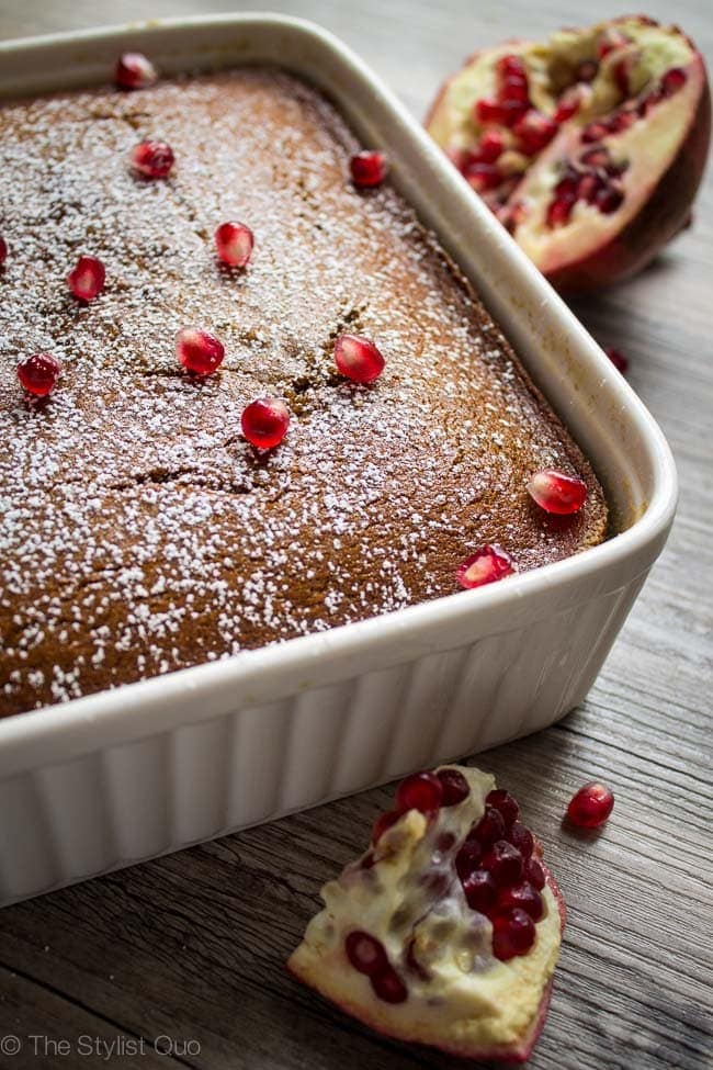 Gingerbread Cake with Pomegranate Seeds
