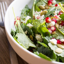 Kale, Pomegranate, and Feta Salad with Dijon Vinaigrette