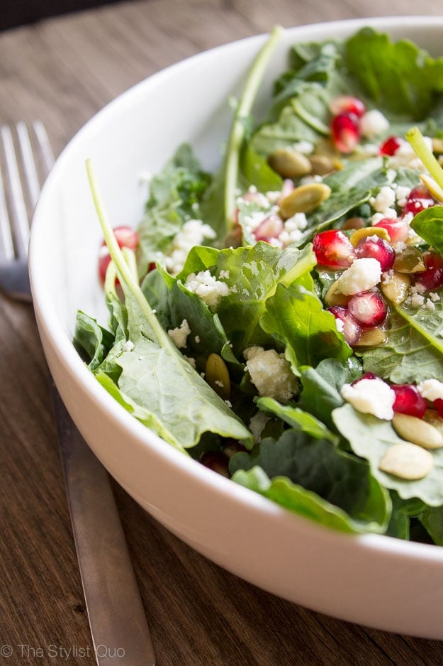 Kale, Pomegranate, and Feta Salad with Dijon Vinaigrette - 40 Aprons