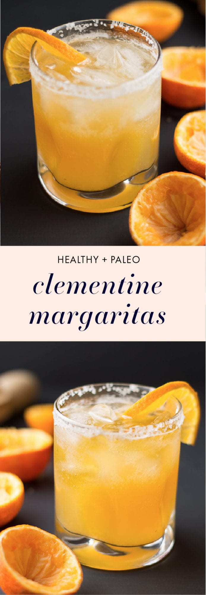 These clementine healthy margaritas are a fantastic way to use up the abundance of citrus. Depending on the sweetness of your clementines, you might not need any sweetener at all - the perfect healthy margaritas recipe for Cinco de Mayo or any fiesta occasion!