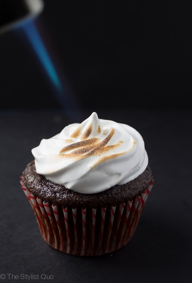 Hot Chocolate Cupcakes with Toasted Marshmallow Frosting - 40 Aprons