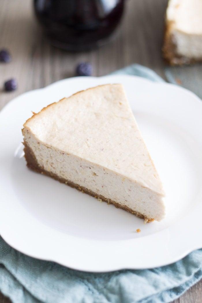 Vegan Lemon Ricotta Cheesecake with Blueberry White Wine Sauce