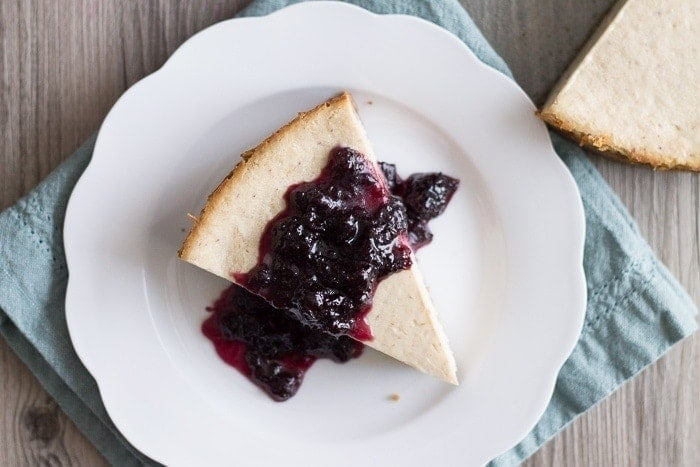 Vegan Lemon Ricotta Cheesecake with Blueberry White Wine Sauce