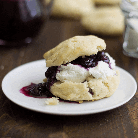 Biscuits with Goat Cheese and Blueberry Compote