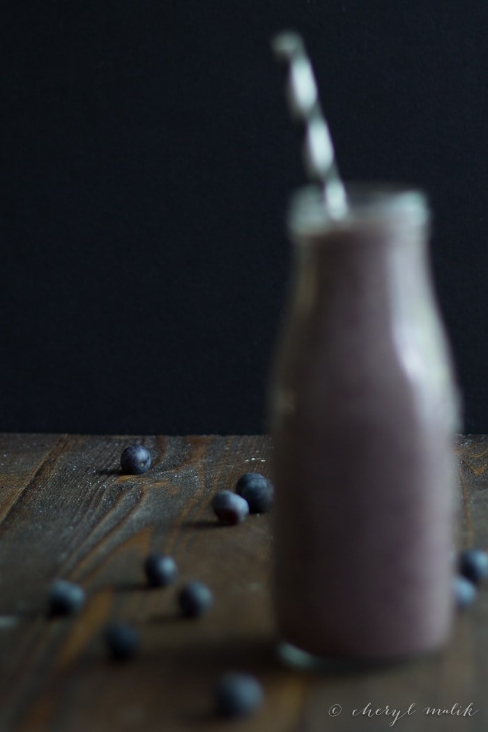 Blueberry Chia Smoothie. Perfect for pre- or post-run or workout! Packed full of superfoods. My husband cannot get enough of these.. it's a borderline problem!