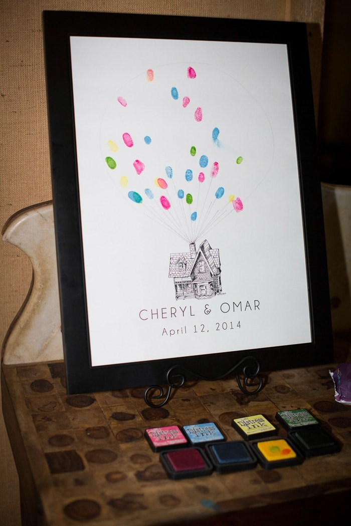 We had a thumbprint guest book styled to look like the house from Up!