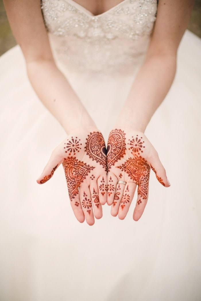 I had mendhi on my palms as a nod to Pakistani wedding traditions--O's nationality on his father's side