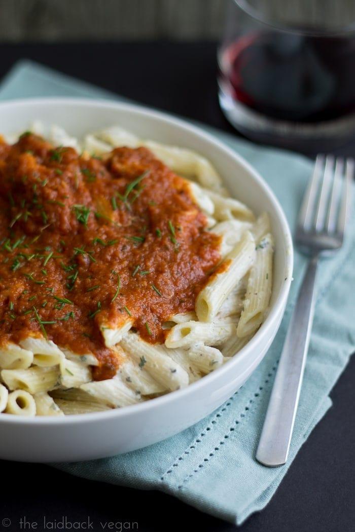 Layered Ricotta and Tomato Pasta Bowl with Tofutti