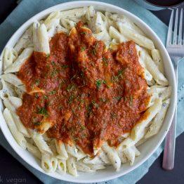 Vegan Ricotta and Tomato Layered Pasta Bowl
