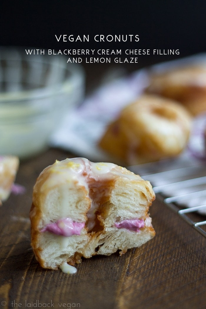 Vegan 'Flaky Donuts' with Blackberry-Cream Cheese and Lemon Glaze. Yes, it's real. Holy mama.