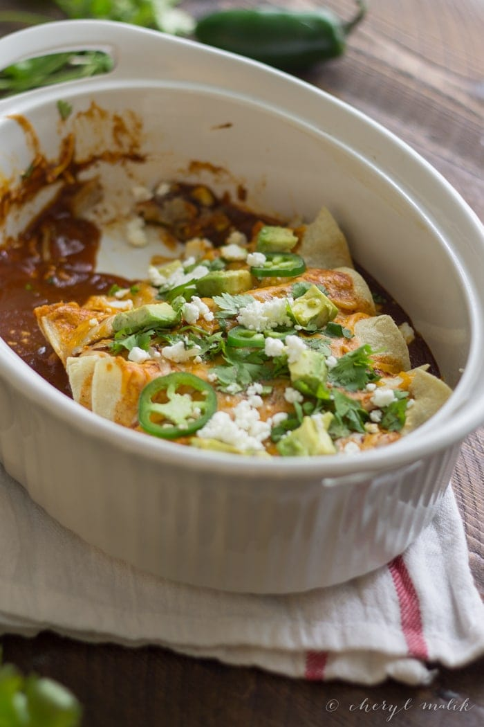 Vegetarian Enchiladas with Goat Cheese. Unbelievably tasty and so quick to pull together - a flavorful weeknight fave!