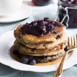 Blueberry Oatmeal Pancakes (Vegan, Gluten Free)