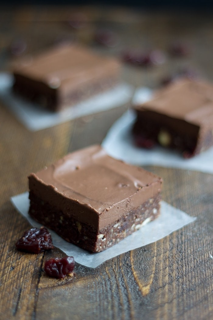 Raw Frosted Chocolate Cherry Brownies. The ultimate raw brownie - rich and chocolatey with bright bits of sweet-tart cherries. Perfecto