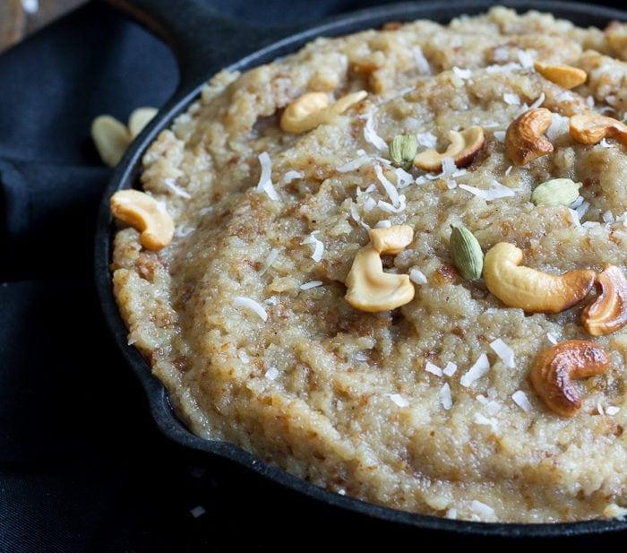 Vegan Bread Halwa for Eid. Bread, coconut oil, almond milk, sugar, rose water, and cardamom - delicious!