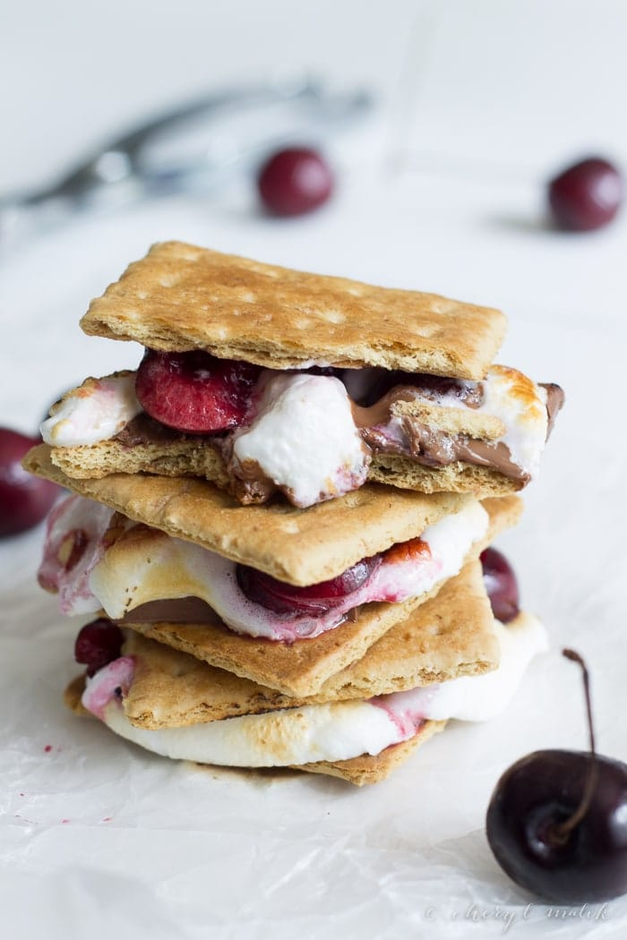 Dark Chocolate Cherry Smores. These are simply amazing! Give s'mores a grown-up flair with rich dark chocolate and ripe fresh cherries. Mmm.
