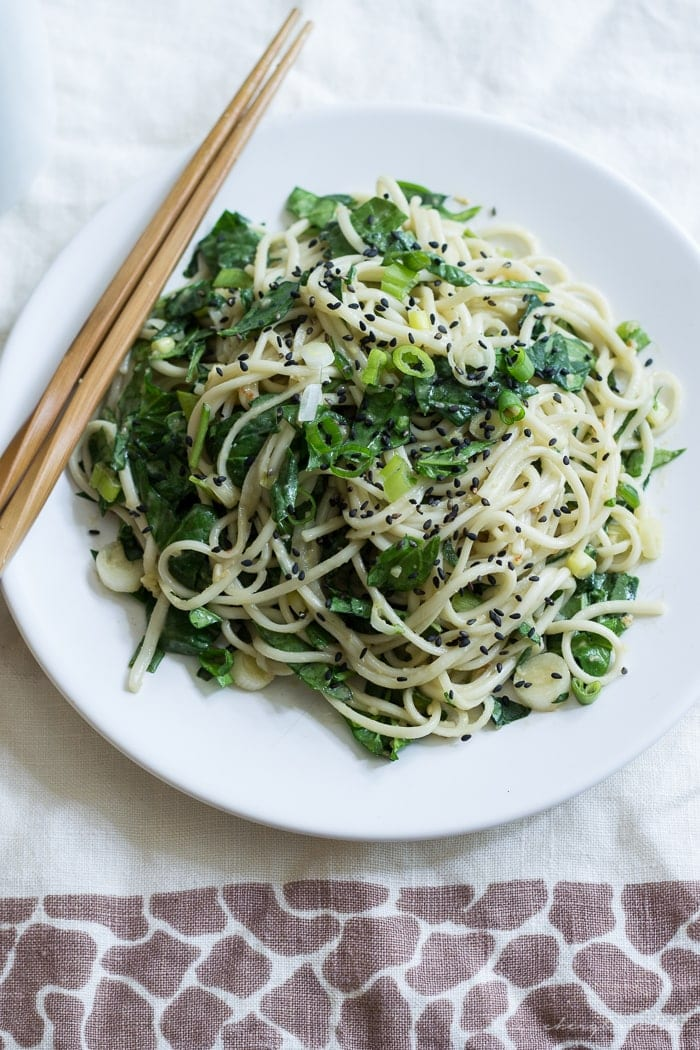 Peanut Spinach Udon. These noodles are perfect for lunch and are great warm, room temp, AND cold. Vegan & gluten-free option