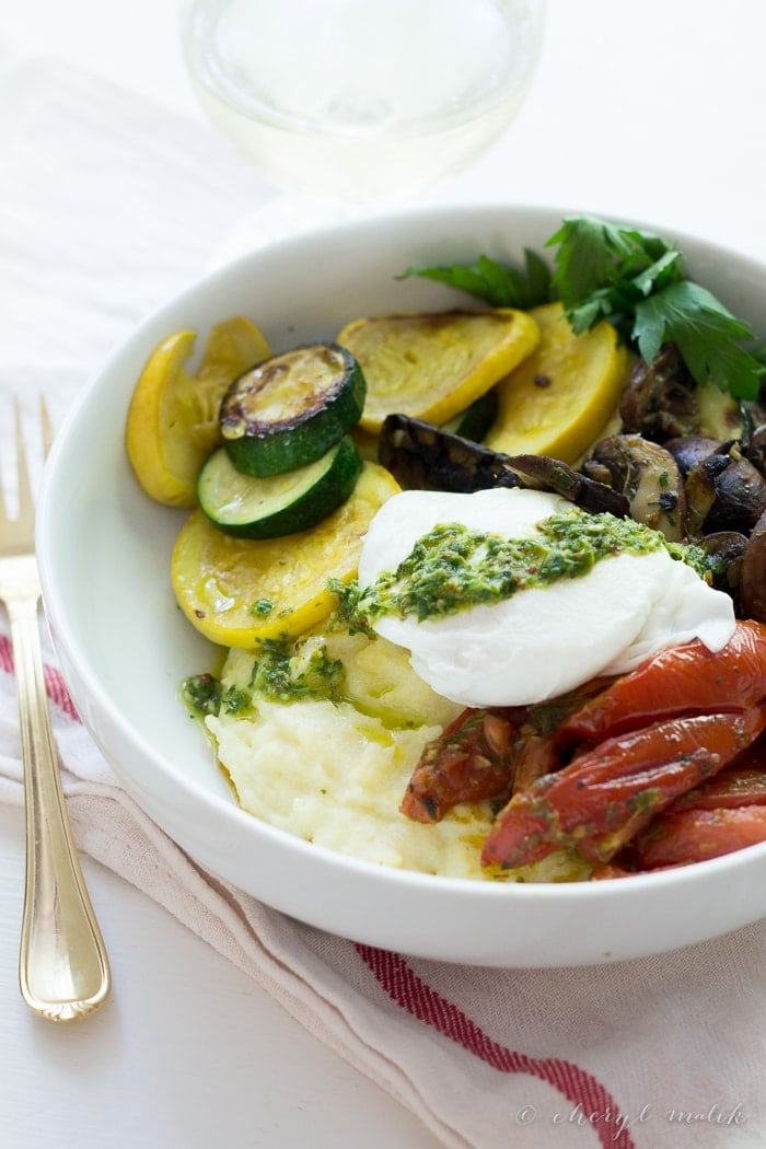 Summer Polenta Bowl with chimichurri. Full of fresh summer veggies, this one-bowl meal is healthy, hearty, and totally delicious.