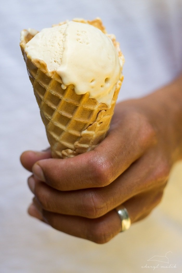 Vegan salted caramel ice cream. My husband said this is the best ice cream he's EVER eaten. And that man's eaten a lot of ice cream in his day.