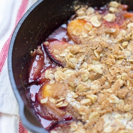 Stone Fruit Skillet Crumble for Two. Vegan, Gluten Free, and No Refined Sugars!