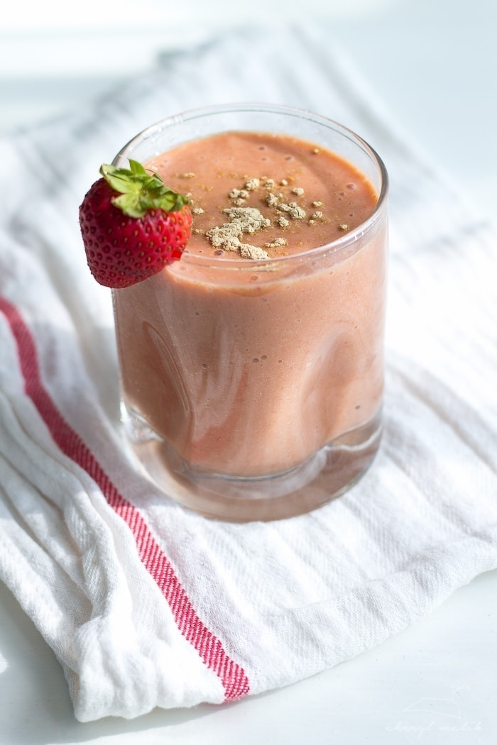 Strawberry Maca Smoothie. Have you tried maca, the Peruvian superfood? It's amazing for energy, contains tons of vitamins and minerals, and is even good for libido and fertility!