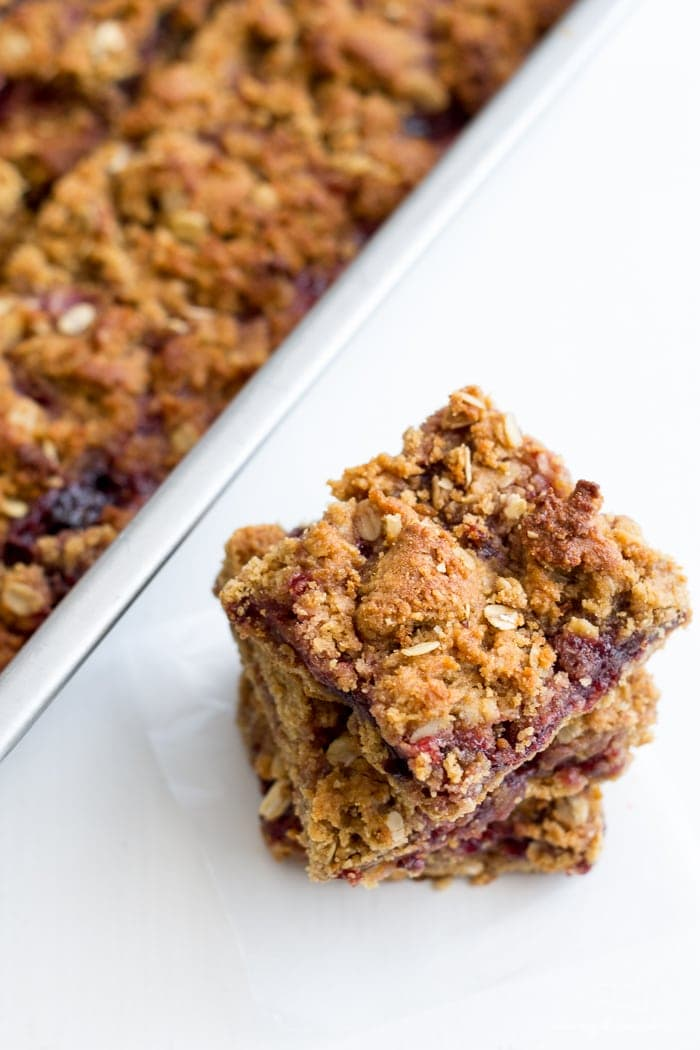PB&J Bars. Vegan, gluten-free, and refined sugar free, this fun take on the classic sandwich  will become a back to school tradition!