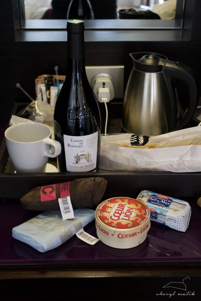 Of course, I had to stock up IMMEDIATELY on all the necessities: Camembert, salted butter, red wine, and bread