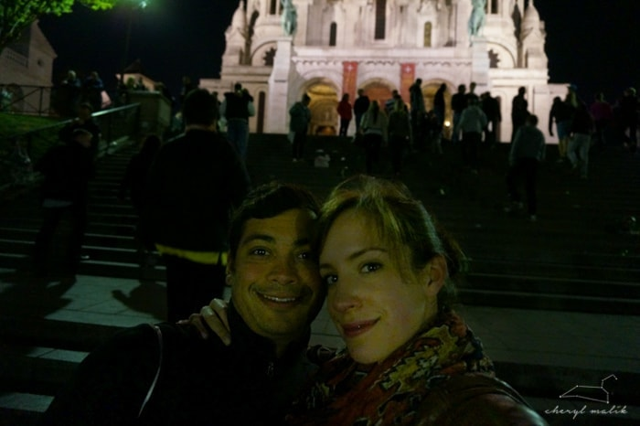 One of O's favorite spots in Paris is the Sacré Cœur, so we made sure to go that night. We might look a little tired...