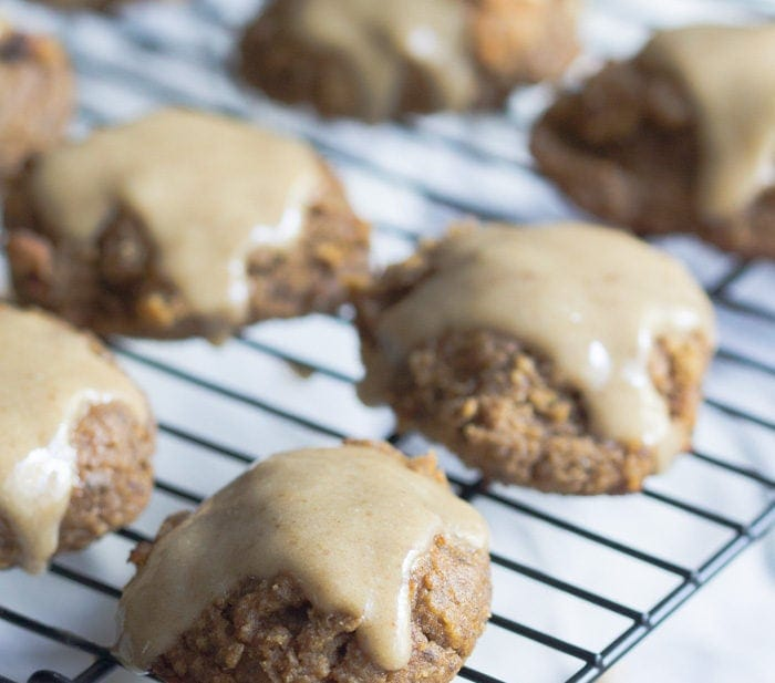 Pumpkin cookies with a maple glaze. These are so insanely healthy but so rich and indulgent! Vegan, gluten free, refined sugar free. They're basically rehab for your seasonal indulgences..