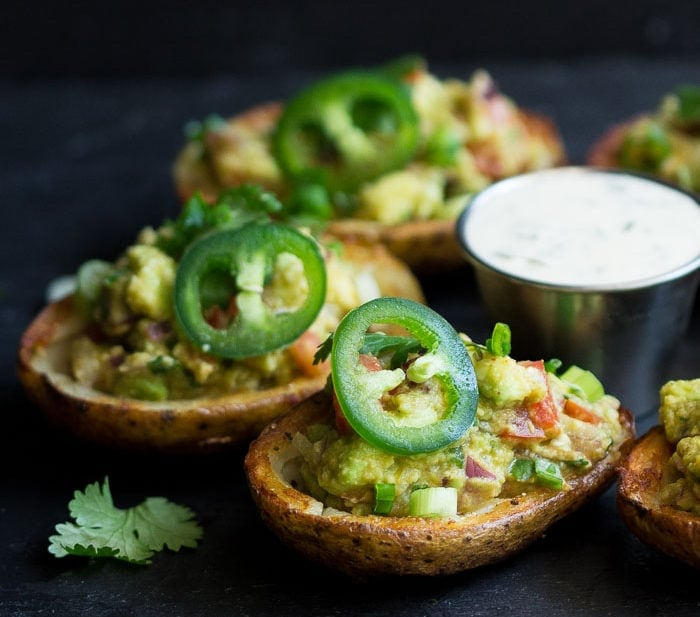 Vegan Guacamole Potato Skins with Ranch Dressing