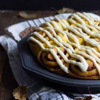 Vegan pumpkin cinnamon rolls with a maple-cream cheese glaze - simplified and ready in about 2 hours, these are the perfect fall breakfast