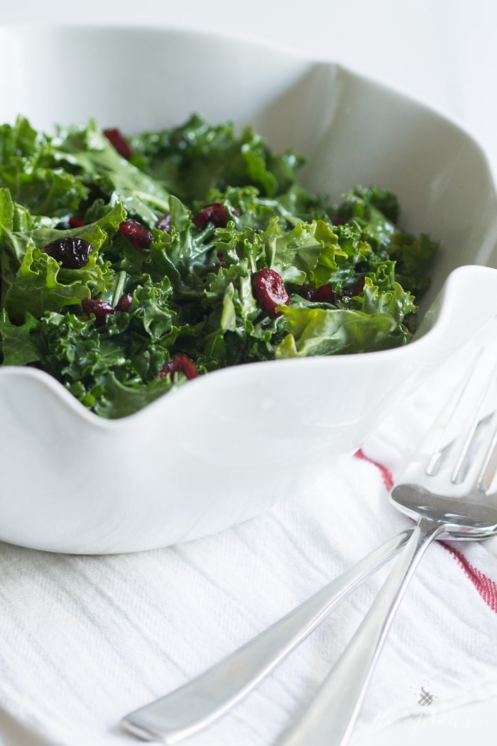 A bright and light raw kale salad tossed in a lemony honey vinaigrette and dotted with sweet, tart dried cranberries. The perfect side dish for a heavy holiday feast!