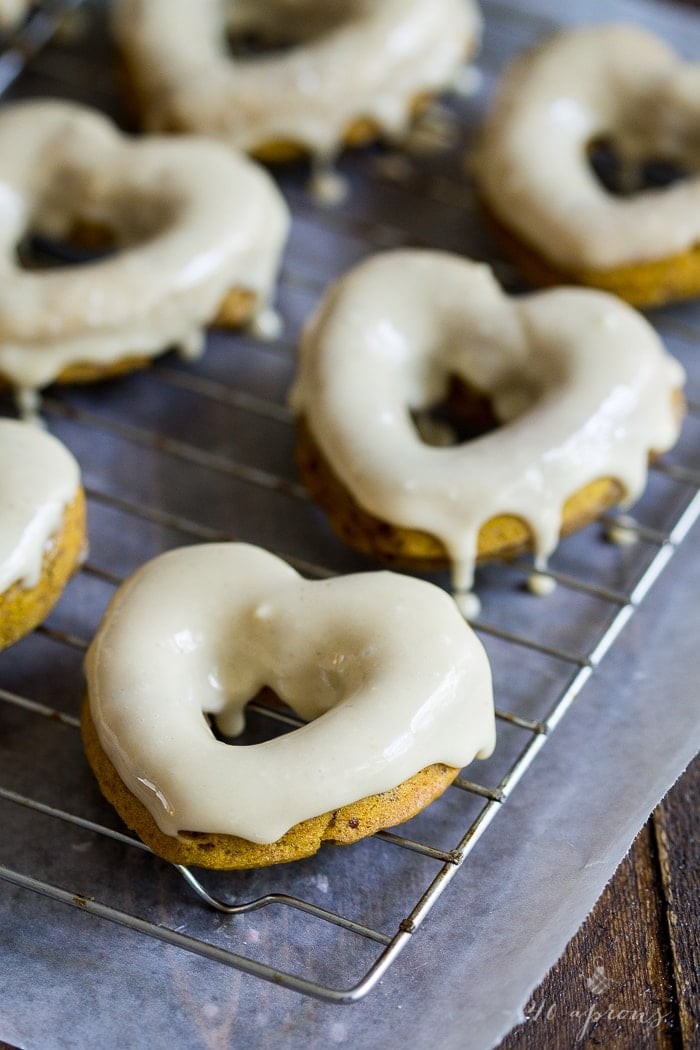 Vegan pumpkin donuts with salted caramel glaze. Epic!