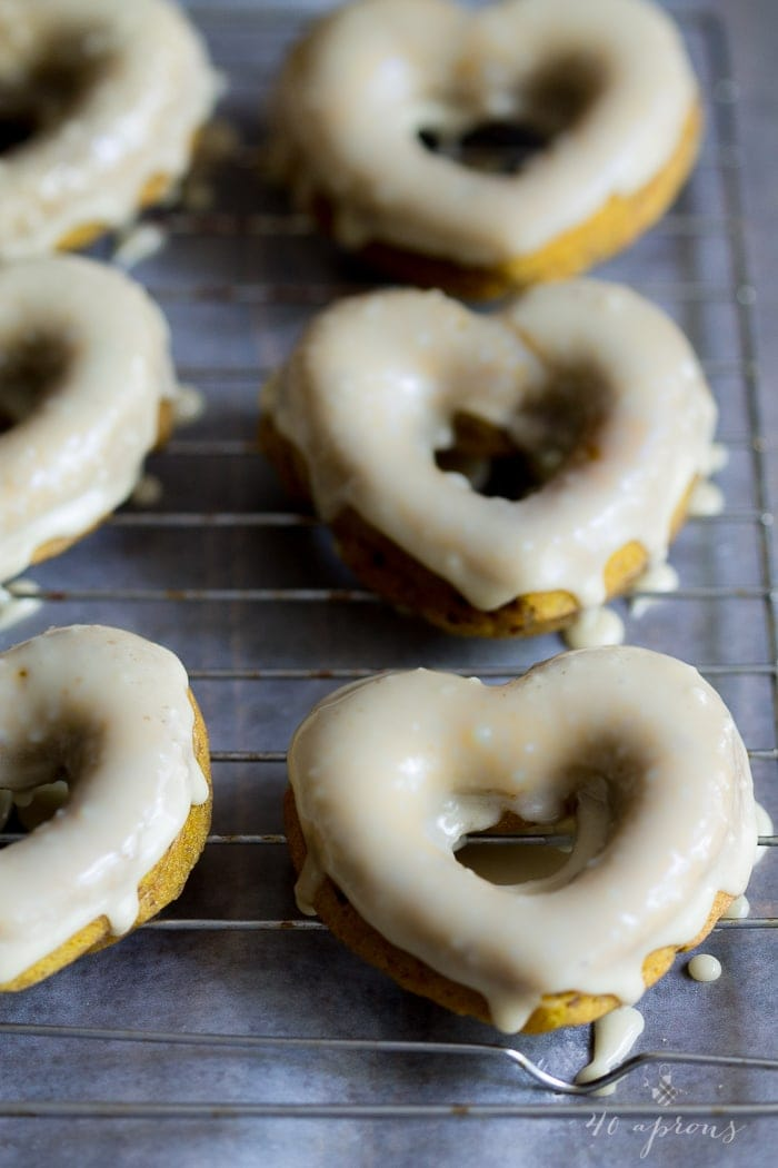 Vegan pumpkin donuts with salted caramel glaze. Epic!