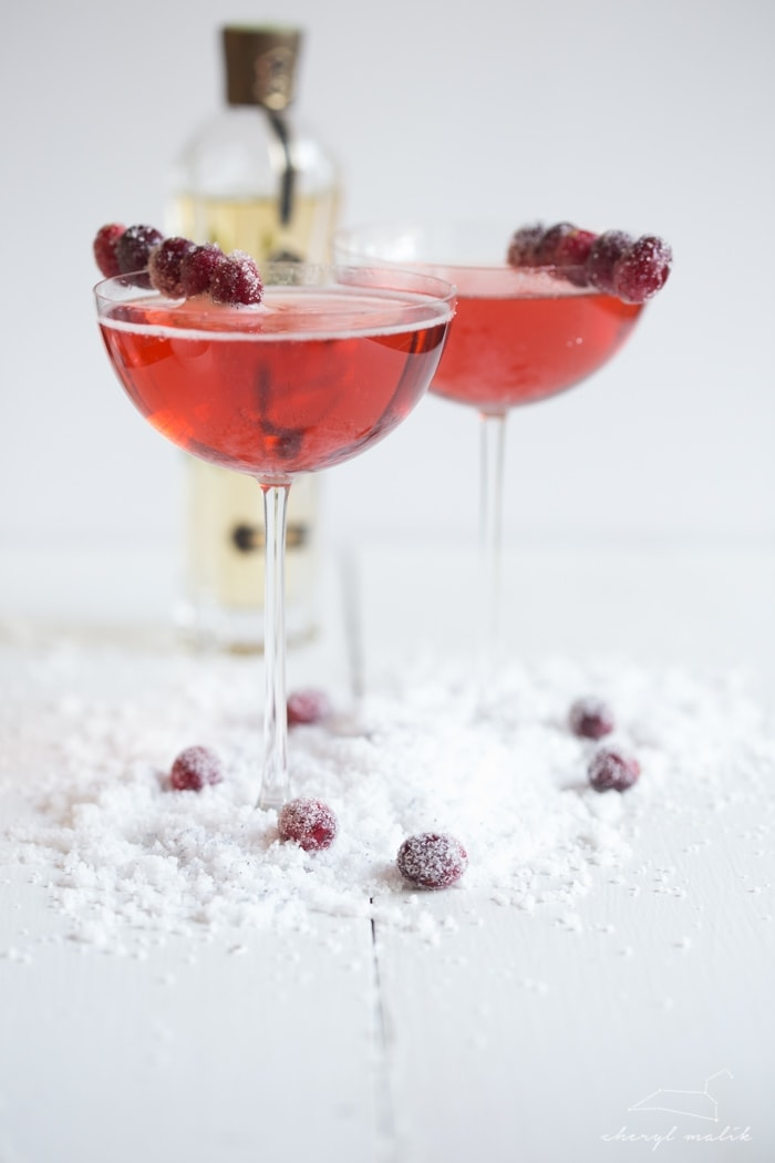 Cranberry-elderflower champagne sparkler. A bit sweet, a bit tart, and totally bubbly and indulgent. Perfect for Christmas Eve or New Years Eve!