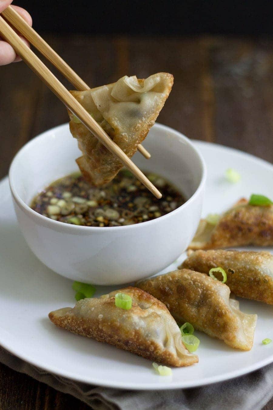 Vegetarian Shiitake Gyoza - full of flavor and perfectly crispy