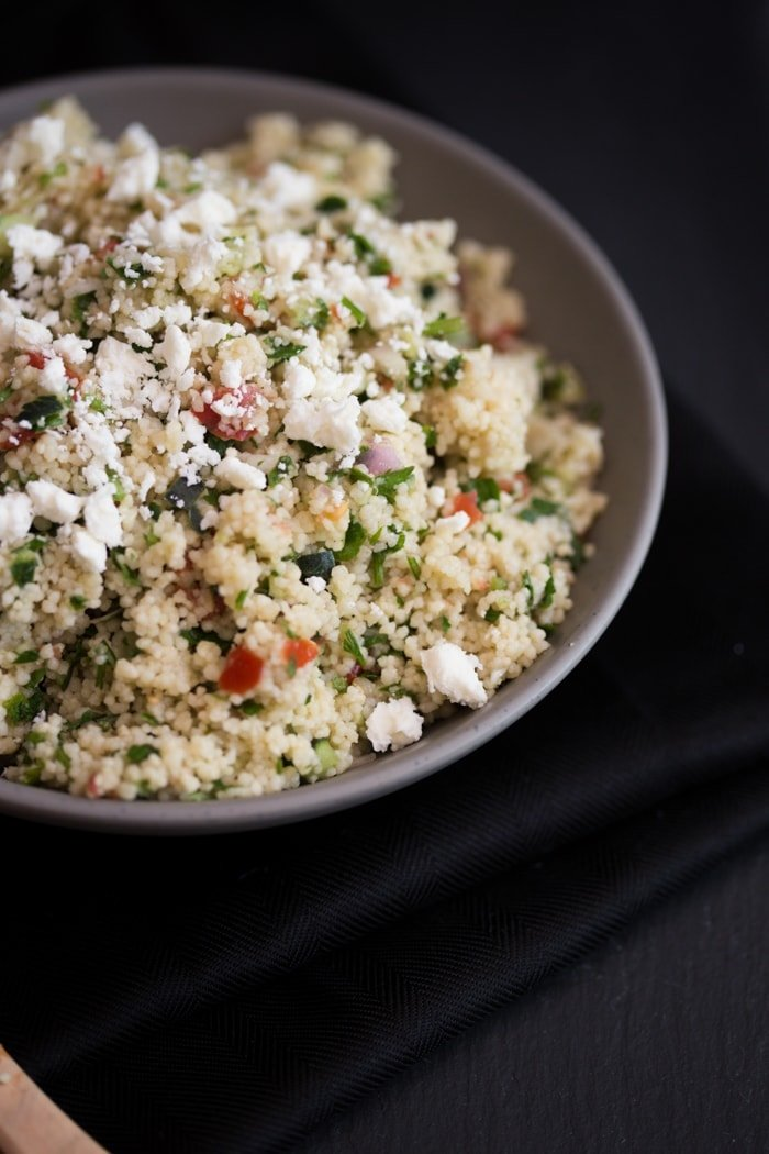 Lazy Girl Couscous Tabbouleh - Light, bright, and so easy to make. Perfect for summer and get togethers! // 40 Aprons