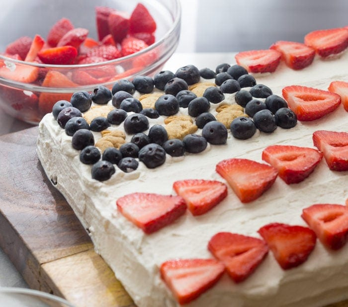 Flag Cake with Whipped Cream Frosting & Bunny Grahams
